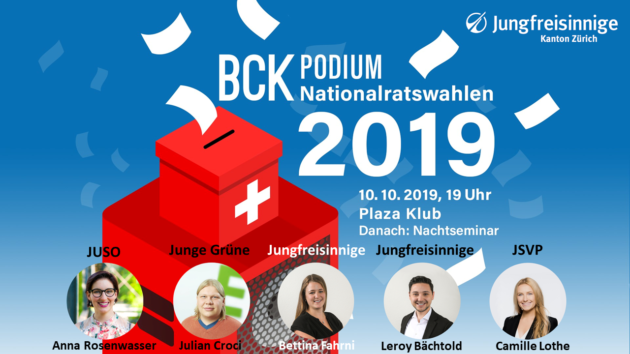10.10.2019, BCK Podium Nationalratswahlen 2019, 19 Uhr Plaza Klub